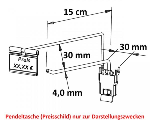 Einfachhaken mit Steg & Verriegelung 15 cm neu